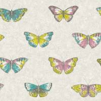 Papillons Wallpaper - Turquoise/Pink