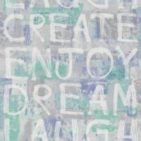 Wording Graf Wallpaper - Blue/Green