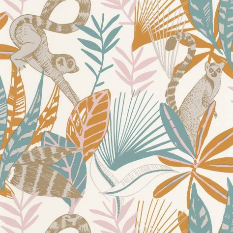 Caselio  L'Odyssee Wallpapers Madagascar Wallpaper - Bleu / Ocre / Rose / Dore - OYS101403211
