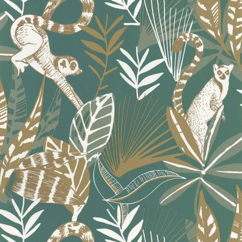 Caselio  L'Odyssee Wallpapers Madagascar Wallpaper - Vert Emeraude / Dore - OYS101407800