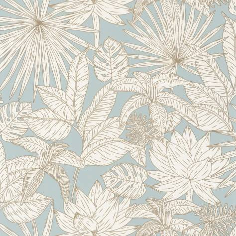 Caselio  L'Odyssee Wallpapers Hawai Wallpaper - Bleu Doux / Dore - OYS101436109