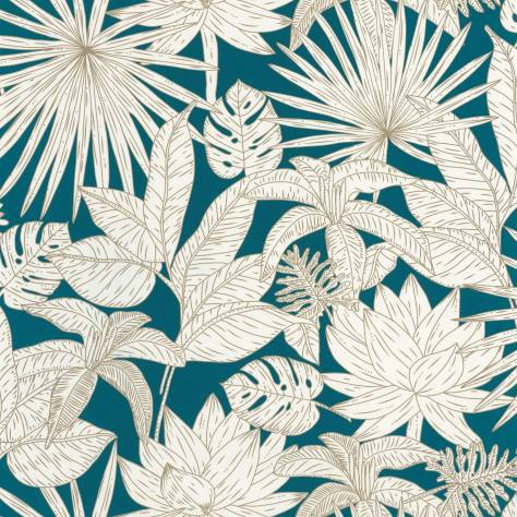 Caselio  L'Odyssee Wallpapers Hawai Wallpaper - Bleu Nuit / Dore - OYS101436625