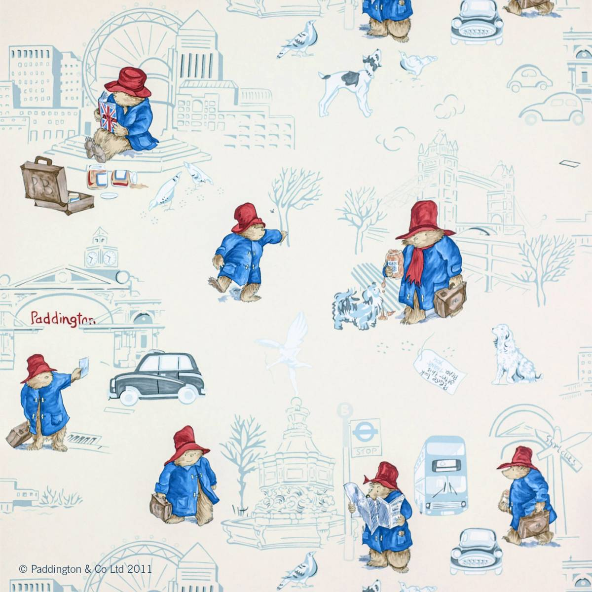 London Paddington Wallpaper Vintage Red Blue J125w 03 Jane
