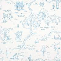 One Hundred Acre Wood Map Wallpaper - Blue