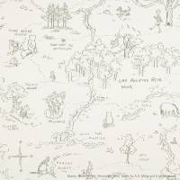 One Hundred Acre Wood Map Wallpaper - Charcoal