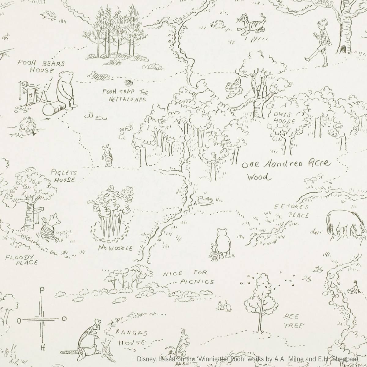 Jane Churchill One Hundred Acre Wood Map Wallpaper Charcoalproduct Code J129w 04