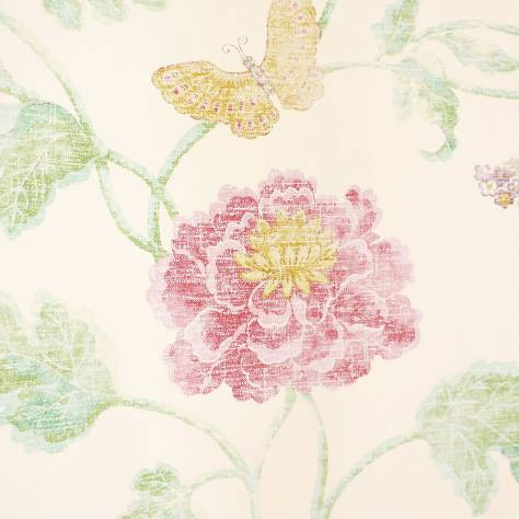 Colefax & Fowler  Baptista Wallpapers Poppy and Butterfly Wallpaper - Pink/Green - 07952/04
