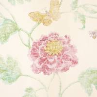 Poppy and Butterfly Wallpaper - Pink/Green