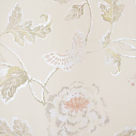 Colefax & Fowler  Baptista Wallpapers Poppy and Butterfly Wallpaper - Silver/Red - 07952/07