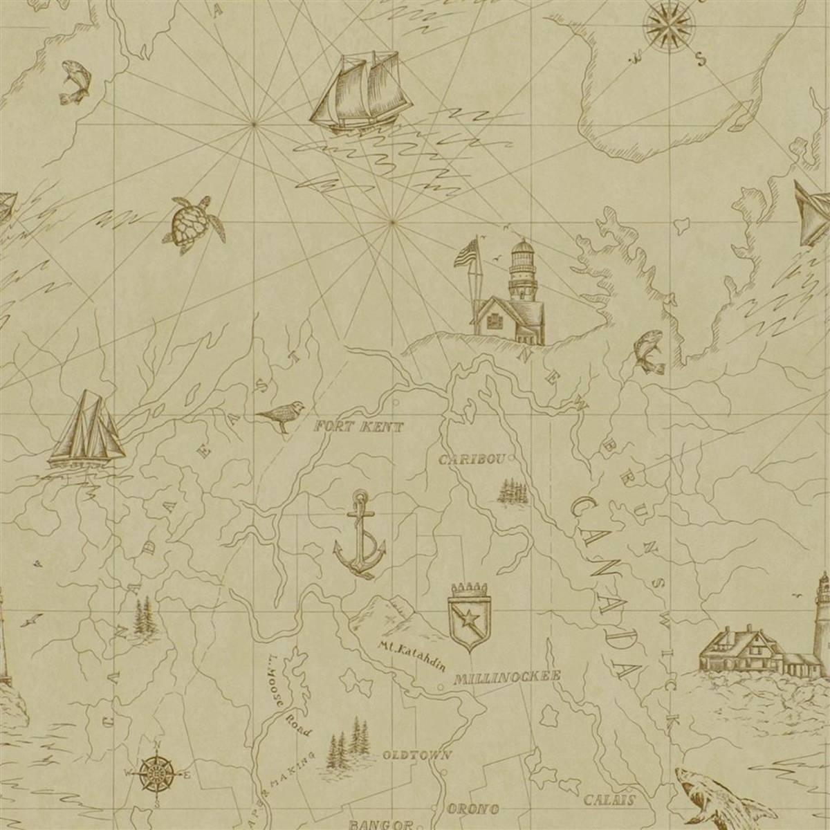 Ralph Lauren Searsport Map Wallpaper - ParchmentProduct Code: PRL5027/02