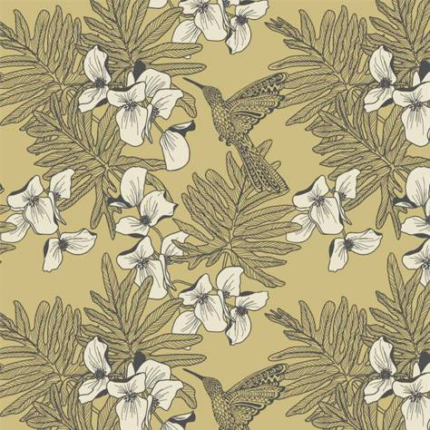 1838 Wallcoverings Aurora Wallpapers Hummingbird Wallpaper - Mustard - 1804-117-01