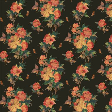 1838 Wallcoverings Camellia Wallpapers Madama Butterfly Wallpaper - Ebony - 1703-108-06