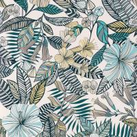 Valldemossa Wallpaper - Ivory / Sea Blue / Pebble