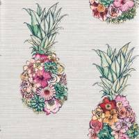 Ananas Wallpaper - Cerise / Lemon / Mint