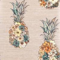 Ananas Wallpaper - Terracotta / Lemon / Grass