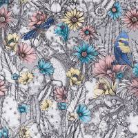 Cactus Garden Wallpaper - Grey / Blush / Blue / Pale Lemon