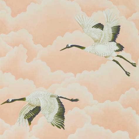 Cranes In Flight Wallpaper Blush 111232 Harlequin