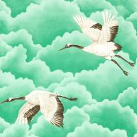 Cranes in Flight Wallpaper - Emerald