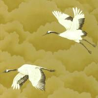 Cranes in Flight Wallpaper - Antique Gold
