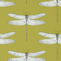 Demoiselle Wallpaper - Ochre/Grape