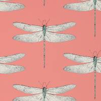 Demoiselle Wallpaper - Coral/Mint