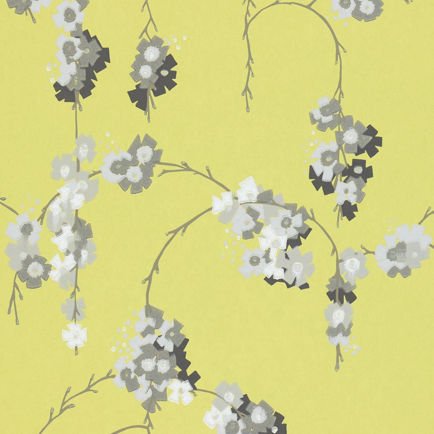 Giselle wallpaper chartreuse grey white 110134 harlequin delphine wallpapers collection - Gray and yellow wallpaper ...