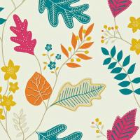 Lacarno Wallpaper - Linen/Teal/Tangerine/Cherry