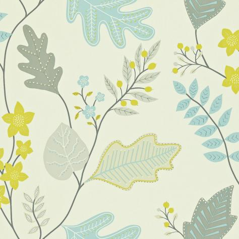 Harlequin Folia Wallpapers Lacarno Wallpaper - Linen/Stone/Sky/Zest - 110299/110966