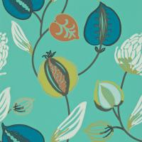 Tembok Wallpaper - Teal/Petrol/Orange/Mustard