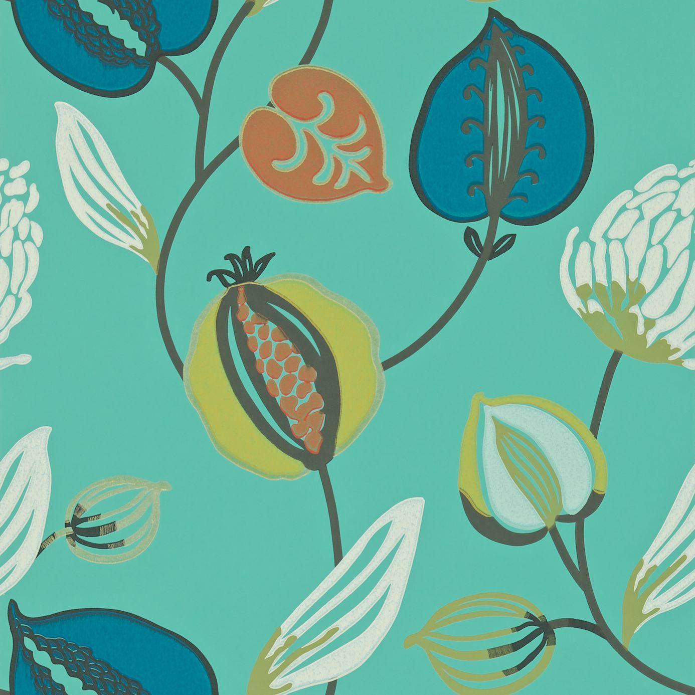 Harlequin Folia Wallpapers Tembok Wallpaper - Teal/Petrol/Orange ...