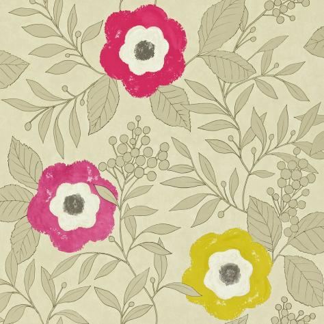 Harlequin Folia Wallpapers Jena Wallpaper - Gold/Chartreuse/Cherry/Raspberry - 110307