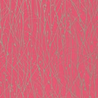 Grasses Wallpaper - Hot Pink/Pewter