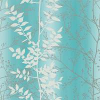 Persephone Wallpaper - Aqua/Honeycomb/Pewter