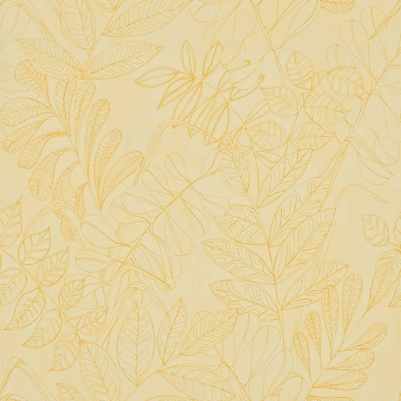 Mustard Design Wallpaper : Tropical leaf wallpaper mustard buttermilk