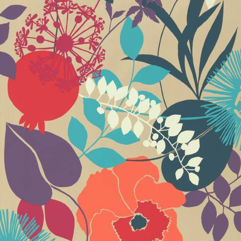 Harlequin Standing Ovation Wallpapers Doyenne Wallpaper - Tangerine/Fuchsia/Turquoise - 111491