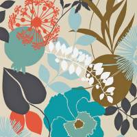 Doyenne Wallpaper - Sky/Olive/Coral