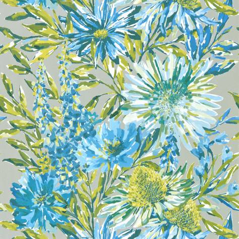 Harlequin Standing Ovation Wallpapers Floreale Wallpaper - Cornflower/Gilver - 111496