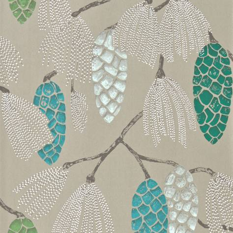 Harlequin Standing Ovation Wallpapers Epitome Wallpaper - Turquoise/Pea/Gilver - 111502