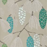 Epitome Wallpaper - Turquoise/Pea/Gilver