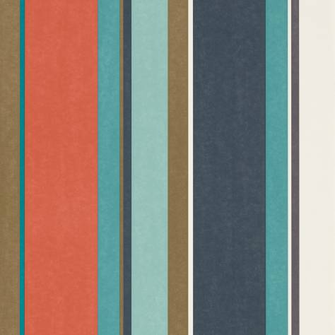 Harlequin Standing Ovation Wallpapers Bella Stripe Wallpaper - Coral/Gold/Turquoise - 111506
