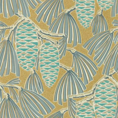 Harlequin Salinas Wallpapers Foxley Wallpaper - Kingfisher / Gold - 112127