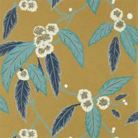 Coppice Wallpaper - Navy / Lagoon / Gold