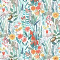 Hide and Seek Wallpaper - Poppy / Marine / Ochre