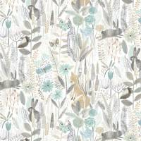 Hide and Seek Wallpaper - Linen / Duck Egg / Stone