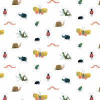 Garden Friends Wallpaper - Poppy / Ochre / Leaf