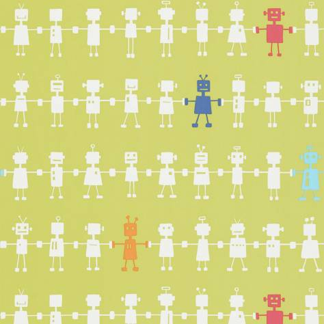 Harlequin All About Me Fabrics & Wallpapers Reggie Robot Wallpaper - Lime Multi - 110532
