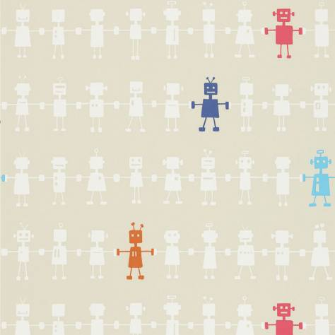 Harlequin All About Me Fabrics & Wallpapers Reggie Robot Wallpaper - Neutral Multi - 110533