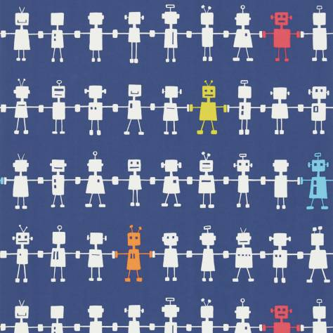 Harlequin All About Me Fabrics & Wallpapers Reggie Robot Wallpaper - Navy Multi - 110534