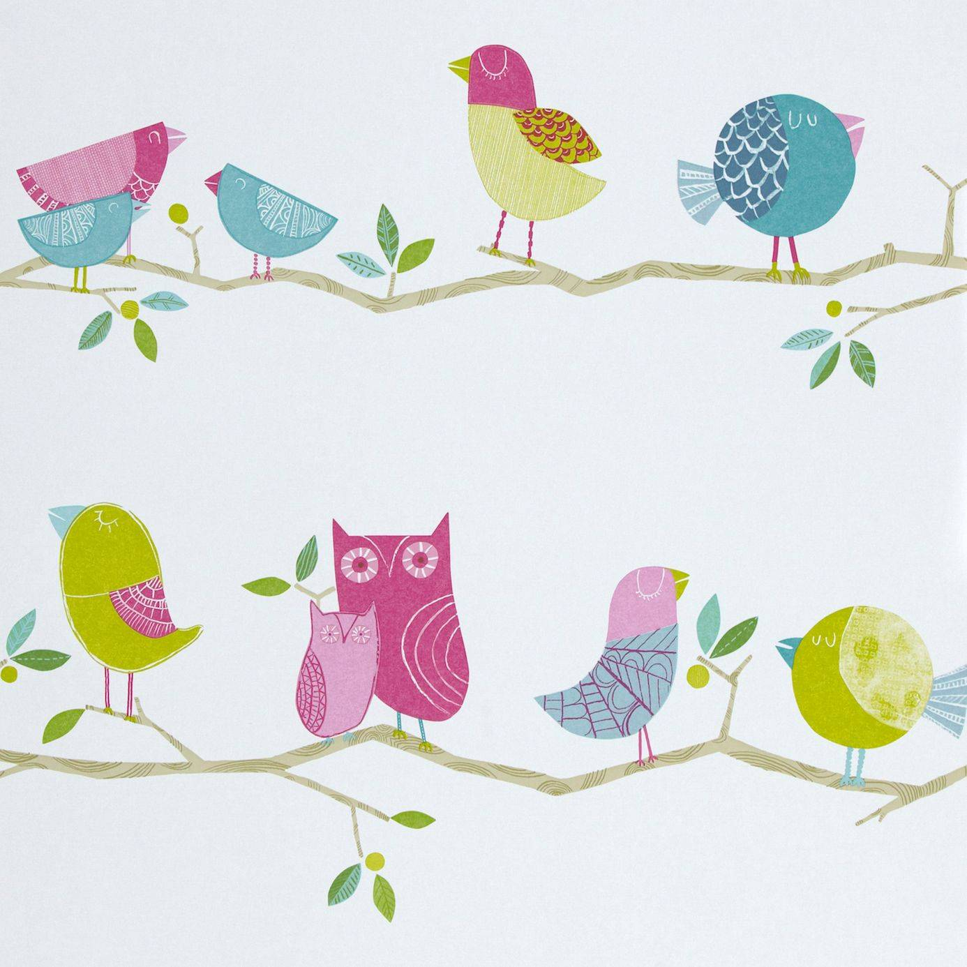 What a hoot wallpaper pink aqua apple natural 70515 - Papel pintado harlequin ...