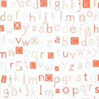 Little Letters Wallpaper - Tangerine/Neutral
